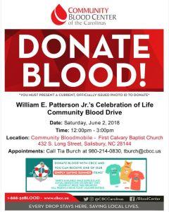 William E. Patterson Blood Drive 2018